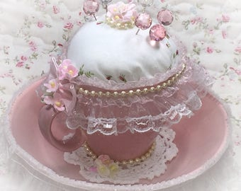 Pink Teacup Pincushion Vintage Shabby Chic Pink Tea Cup & Saucer Handkerchief Lace Pearls Doily Forget Me Nots Gift by Sweet Vintage Designs