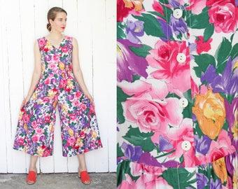 Vintage 80s Jumpsuit | 80s Sleeveless Cotton Floral Print Jumpsuit Wide Leg | Small