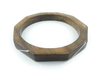 Vintage Wood Bangle, Silver Tone Inlay, Geometric, B88