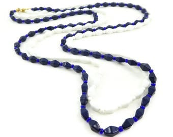 Vintage Navy, White Bead Necklace, Glass, Two in One, STZ57