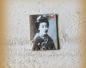 Charm copper enameled jewelry composition picture of geisha, Japan, vintage, Bohemian, exotic, handmade