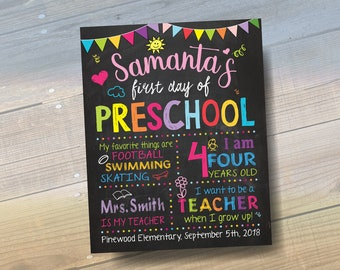 First Day Of School Sign Printable, First Day Of Preschool Sign, First Day Of Kindergarten Sign Printable or Last Day of School Poster
