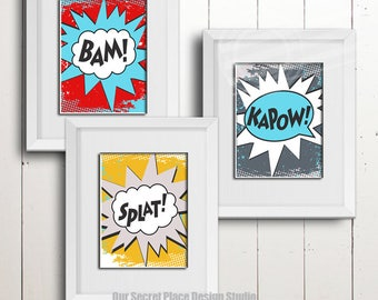 PRINTS Bam Splat Kapow Superhero Wall Art Superhero Prints Superhero Signs Super hero Signs Decor for Boys Room Decor Kids Playroom Decor