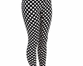 Black & White Polka Dot Retro Pinup High Waist Lycra Spandex Leggings Costume Run Yoga 154723