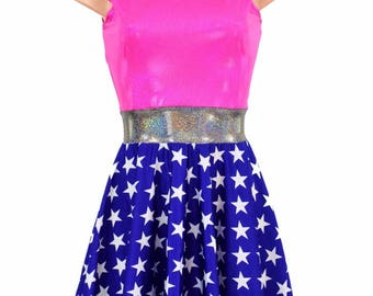 Blue & White Star Sleeveless Fit and Flare Skater Dress with Pink Sparkly Jewel Bodice and Silver Holographic Waistband Lycra Spandex 154812