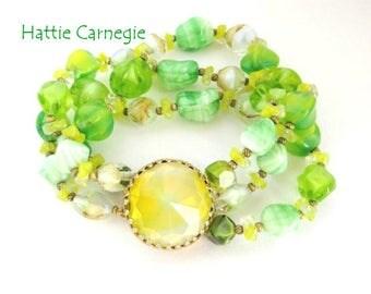 Hattie Carnegie Crystal Bracelet, Vintage Three Strand Green Glass Bracelet, Designer Signed Bracelet, FREE SHIPPING
