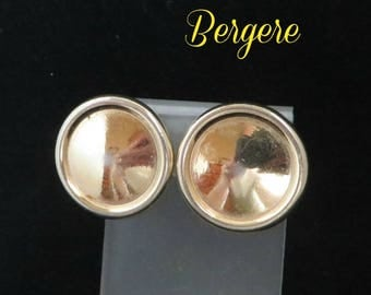 Designer Button Earrings - Vintage Bergere Gold Tone Clip-on Earrings, Gift Idea, Gift Box