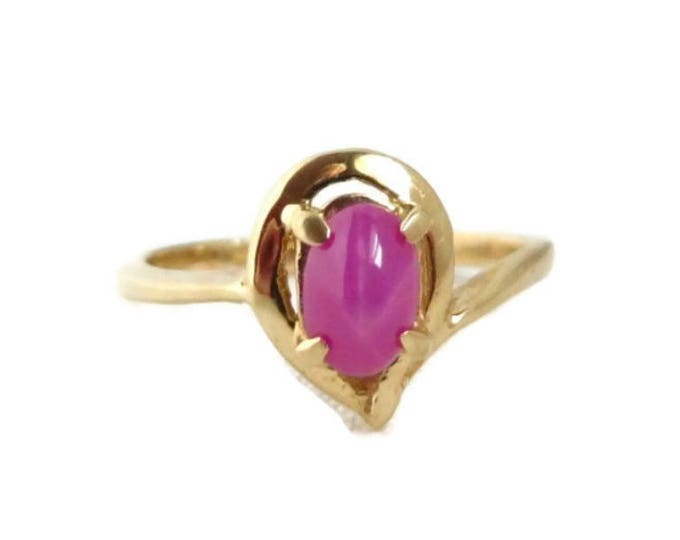14K Gold Pink Star Sapphire Ring, Vintage Promise Ring, Anniversary Gift, Size 5.25