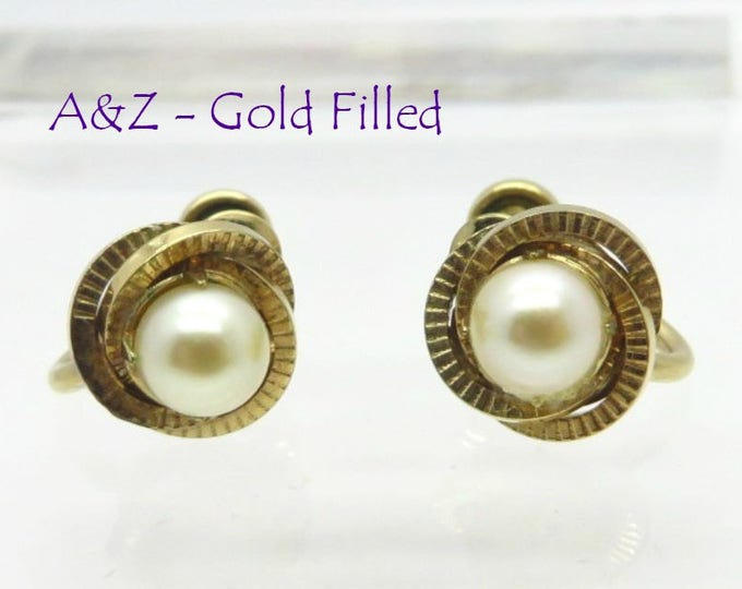 A&Z Faux Pearl Earrings, Vintage Gold Filled, Screw Back Designer Signed Earrings, Gift for Her, FREE SHIPPING
