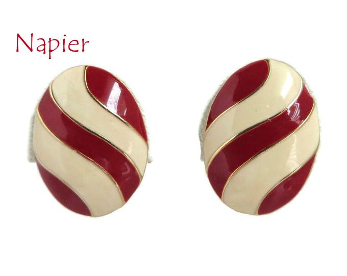 Napier Striped Earrings, Vintage Cream and Red Earrings, Oval Clip-on Earrings, Gift for Her, Gift Box