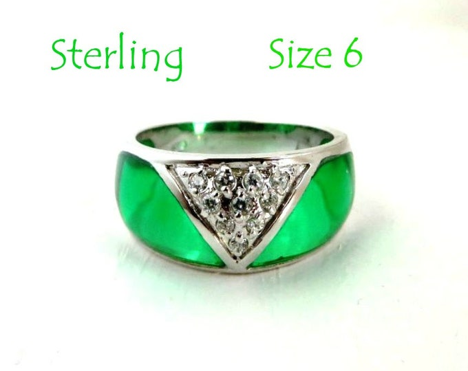 Sterling Silver Dome Ring - Vintage Green Enamel & CZ Wide Band Ring, Size 6, Gift Idea, Gift Box