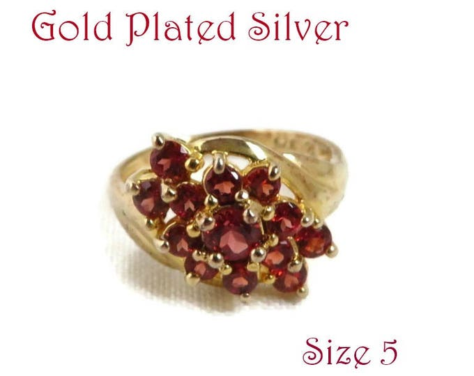 Garnet Glass Cocktail Ring - Vintage Gold Plated Sterling Silver Dinner Ring, Size 5, Valentine's Day Gift for Her, Gift Boxed