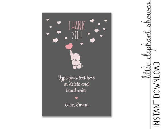 Elephant Thank You Card  INSTANT DOWNLOAD