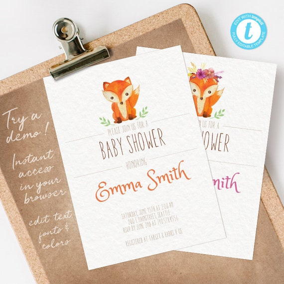 Fox Baby Shower Invitation, Fox Baby Shower, Baby Shower Invitation Fox INSTANT DOWNLOAD you personalize at home
