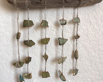Sea Glass Suncatcher Mobile Wall Hanging with gold leaf and feather