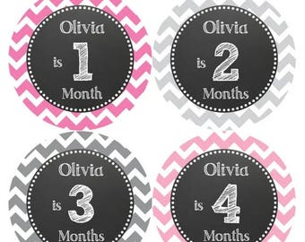 PERSONALIZED Baby Girl Month Stickers Monthly 12 Month Sticker Monthly Baby Stickers Baby Shower Gift Photo Prop Milestone Sticker 515