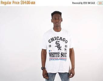 Final SALE 60% Off - 90s Chicago White Sox T Shirt  - Vintage White Sox Baseball - MLB Chicago White Sox  - 50/50 -  1393