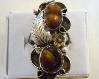Sterling Fire Agate size 8 ring.  Extremely beautiful & vintage