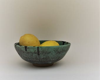 Bowl. Ceramic bowl. Pottery bowl. Decorative bowl with turquoise glaze. Handmade bowl.clay bowl.Pottery serving bowl. fruit bowl. blue/green
