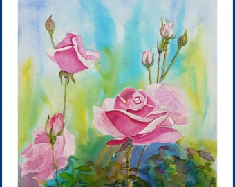 Watercolor - Mai roses