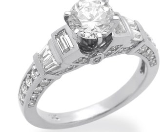 Women 14K White Gold Rhodium Plated, Wedding Ring Solitaire Engagement Ring(DLNR124W)