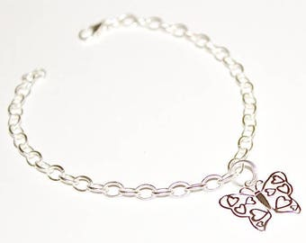 925 Sterling Silver BUTTERFLY Charm Bracelet - 7.48 inches - SET1325-19CM