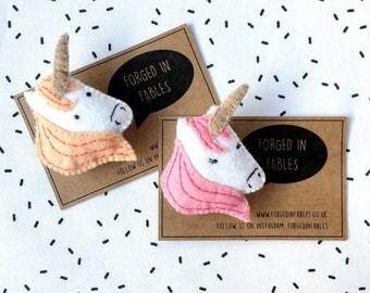 Felt Unicorn Brooch - Pastel Pony Badge - Magical Cute Felt Badge - Kawaii Pin - Horse Brooch