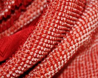 Obiage/ Shibori Red scarf/ Silk stole/Kimono accessory