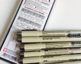 Pigma Micron 6 pen sets