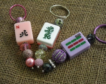 Mahjong Pendant - Mahjong Purse Charm - Oriental Key Ring - Mahjong Key Ring - Mahjong Gift - Free Shipping