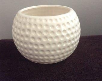 Round White Ceramic Faceted Planter