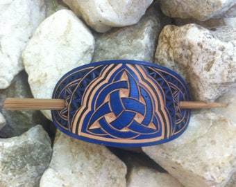 Blue celtic triquetra hand carved leather hair barrette