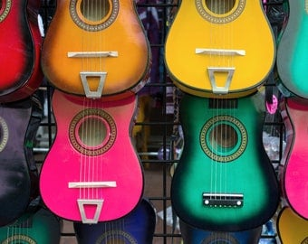 Acoustic Guitars on Wall - Lantern Press Photography (Art Print - Multiple Sizes Available)