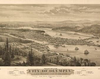 Olympia, Washington Panoramic Map - 1879 (Art Print - Multiple Sizes Available)
