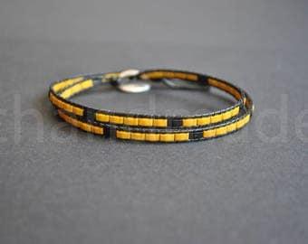 Wrap beaded bracelet | wrapped bracelet | unisex bracelet bracelet | half tila  bracelet | wrap wristband | lederarmband | pulsera cuero