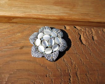 Vintage Rhinestone and Moonstone Brooch Pin