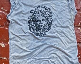 SUMMER SALE Sky Blue Burnout Medusa Sleeveless T-Shirt S