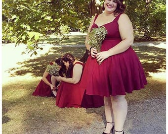 "MISSES Knee Length 38"" Rockabilly Bridesmaid Dress in Vintage BURGUNDY Wine, Casual Stretch Knit, The CHERI Pinup Party Dress, Sleeveless"