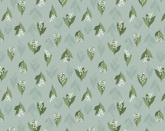 Lewis & Irene Patchwork Quilting Fabric Flo's Wild Flowers FL11.3 Lily of the Valley on Duck Egg Green