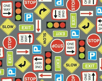 Auto Cad Road Signs Grey 1180 'Discounted' for Makower UK Patchwork Quilting Dressmaking Sewing Fabric