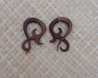 Small Twist Fake Gauge Earrings - Fake Gauge Earrings Wooden Fake Piercing