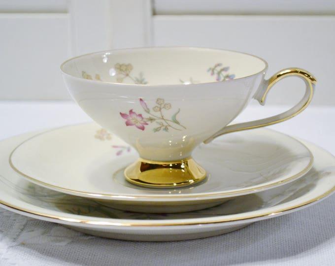 Vintage Eberthal Tea Trio Teacup Saucer Plate Dish Pink Floral Wild Flower Bavaria PanchosPorch