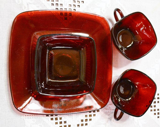 Vintage Ruby Red Glass Charm Plate Cups Bowl 4 pcs Square Anchor Hocking PanchosPorch