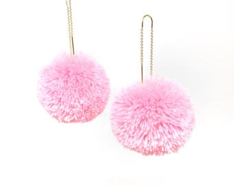 Pom pom drop threader earrings in Pastel Pink