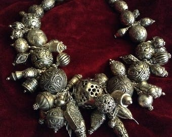 Collector, Chunky Necklace,silver beads from Tibet,Nepal,Indonesia,Thailand,Mali,India,China, master craftsmen 18th to 20th century