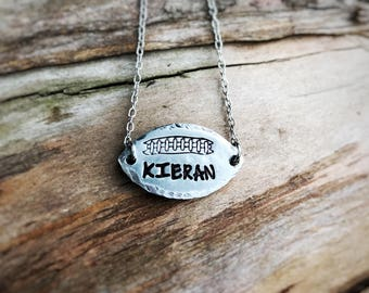 Hand Stamped Football Necklace