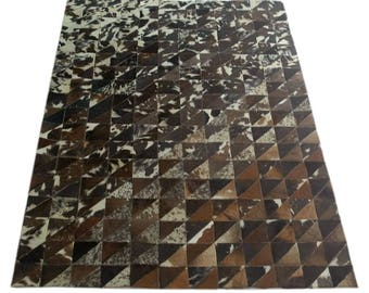 Handmade Cowhide Patchwork Rug - Beautiful Hair On Carpet - Luxurious Rug - R-15