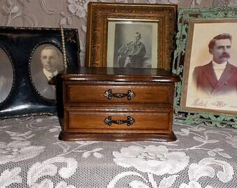 Vintage Wooden Jewelry Box-Organizer-Ring-Earring Storage Box-Velvet Lined-Retro Vanity-Bedroom Decor-Jewel Safe-Orphaned Treasure-Q020918B