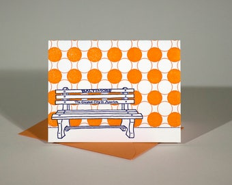Baltimore Letterpress Card | Greatest City in America Bench | purple & orange single blank card with envelope