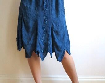 ON SALE Dark Blue Embroidered Sequined Skirt Asymmetric Knee Length Elastic Waist Skirt Medium / Large Size